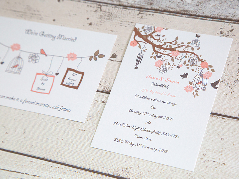 Birdcage invite-save the day cards