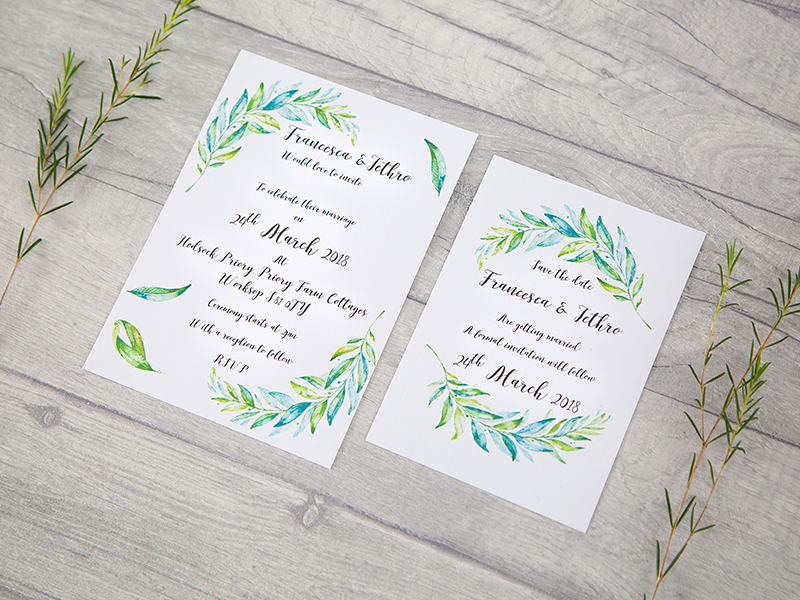 Greenery invite-save the day cards